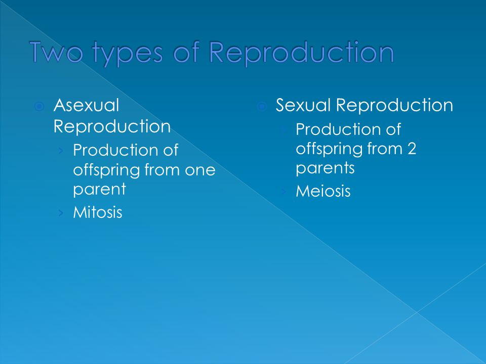  Asexual Reproduction › Production of offspring from one parent › Mitosis  Sexual Reproduction › Production of offspring from 2 parents › Meiosis