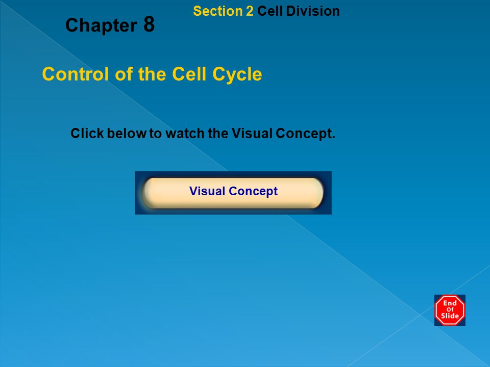 Chapter 8 Click below to watch the Visual Concept. Visual Concept Control of the Cell Cycle Section 2 Cell Division