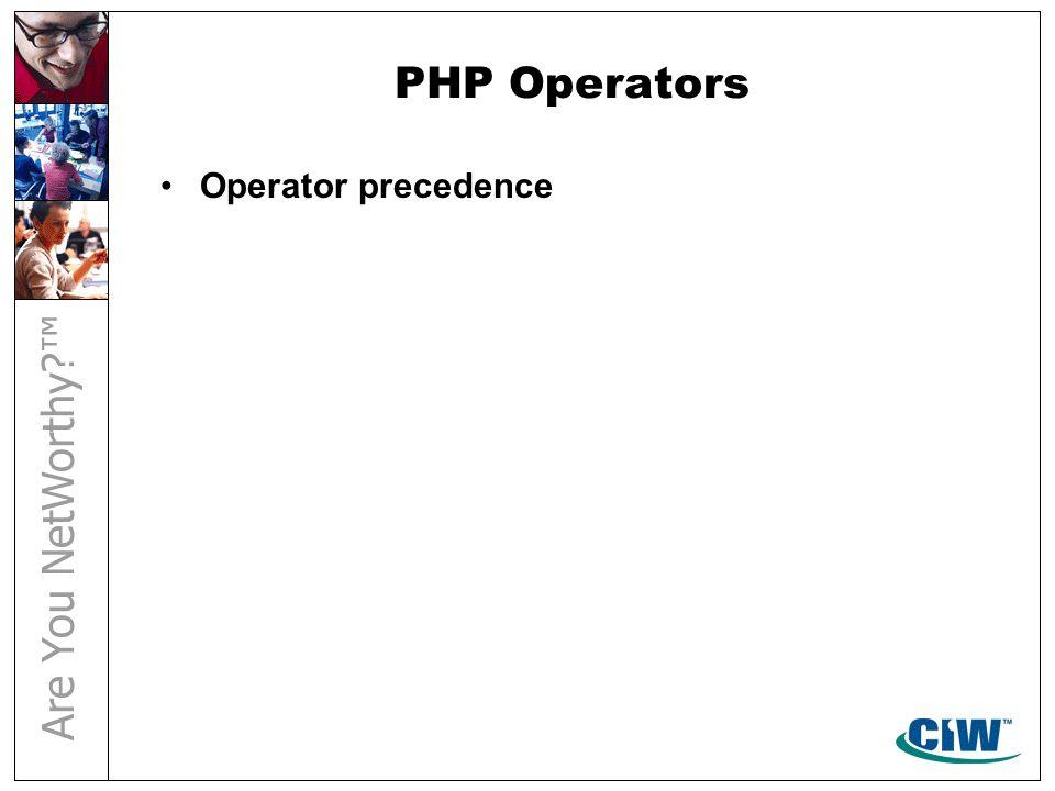 PHP Operators Operator precedence
