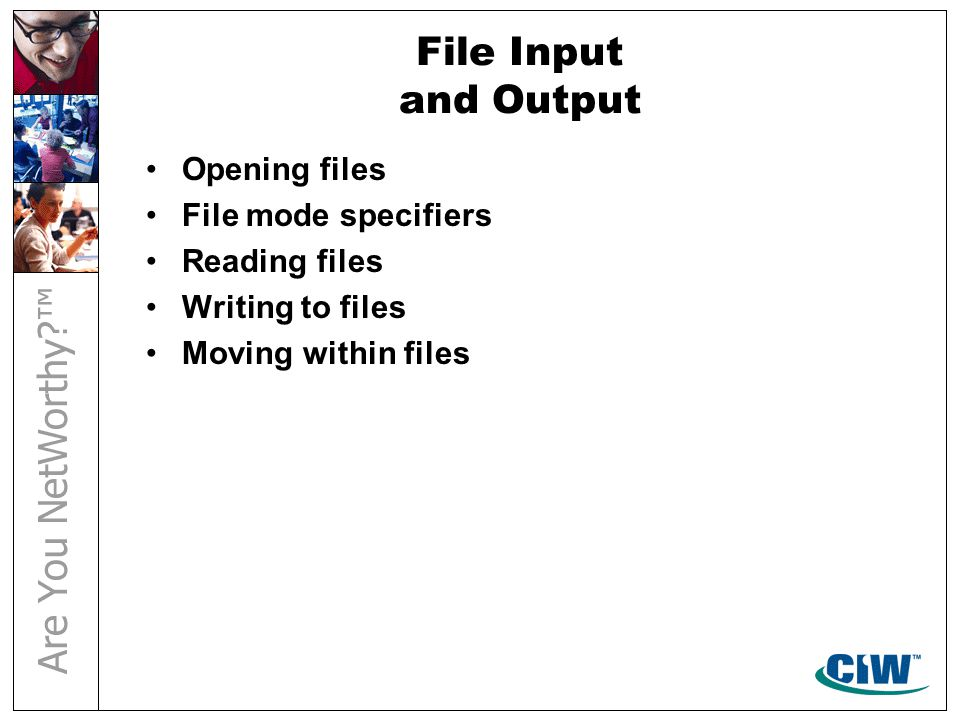 File Input and Output Opening files File mode specifiers Reading files Writing to files Moving within files
