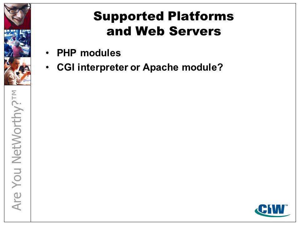 Installation and Configuration Installing MySQL Installing PHP