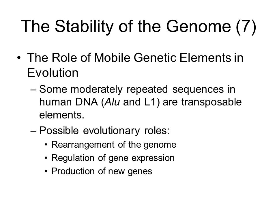 The Stability of the Genome (7) The Role of Mobile Genetic Elements in Evolution –Some moderately repeated sequences in human DNA (Alu and L1) are tra