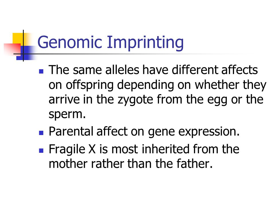 Genomic Imprinting The same alleles have different affects on offspring depending on whether they arrive in the zygote from the egg or the sperm. Pare