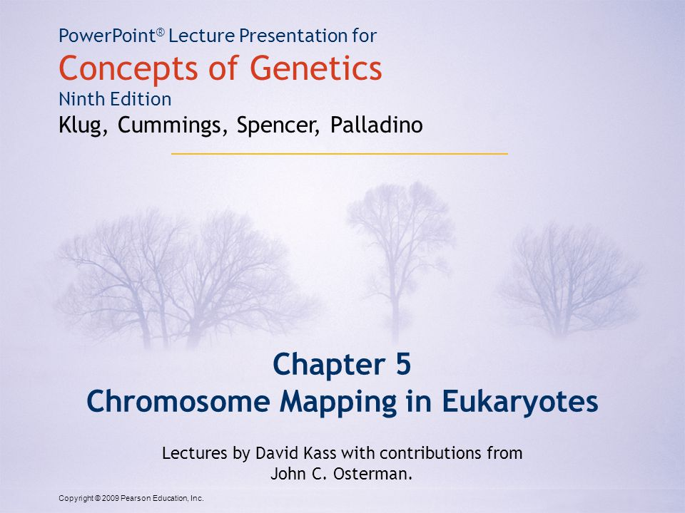 Copyright © 2009 Pearson Education, Inc. PowerPoint ® Lecture Presentation for Concepts of Genetics Ninth Edition Klug, Cummings, Spencer, Palladino C
