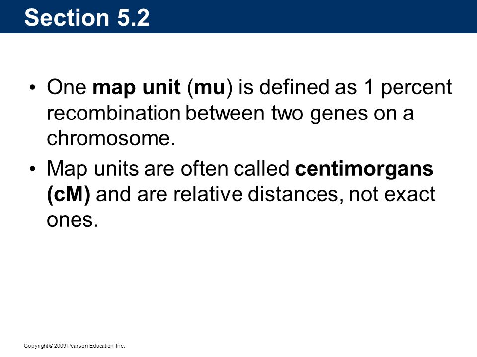 Copyright © 2009 Pearson Education, Inc. One map unit (mu) is defined as 1 percent recombination between two genes on a chromosome. Map units are ofte