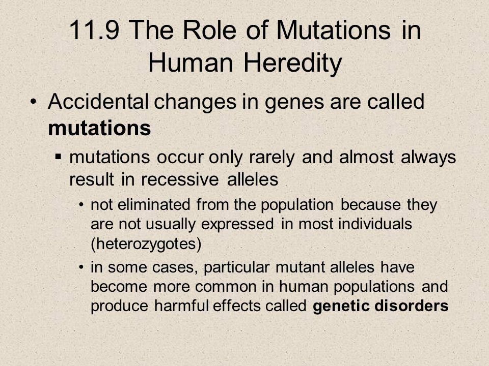 11.9 The Role of Mutations in Human Heredity Accidental changes in genes are called mutations  mutations occur only rarely and almost always result i