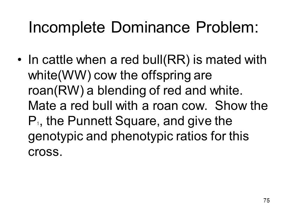 74 Incomplete Dominance RWRWRWRW R RW All RW = pink (heterozygous pink) produces the F 1 generation W