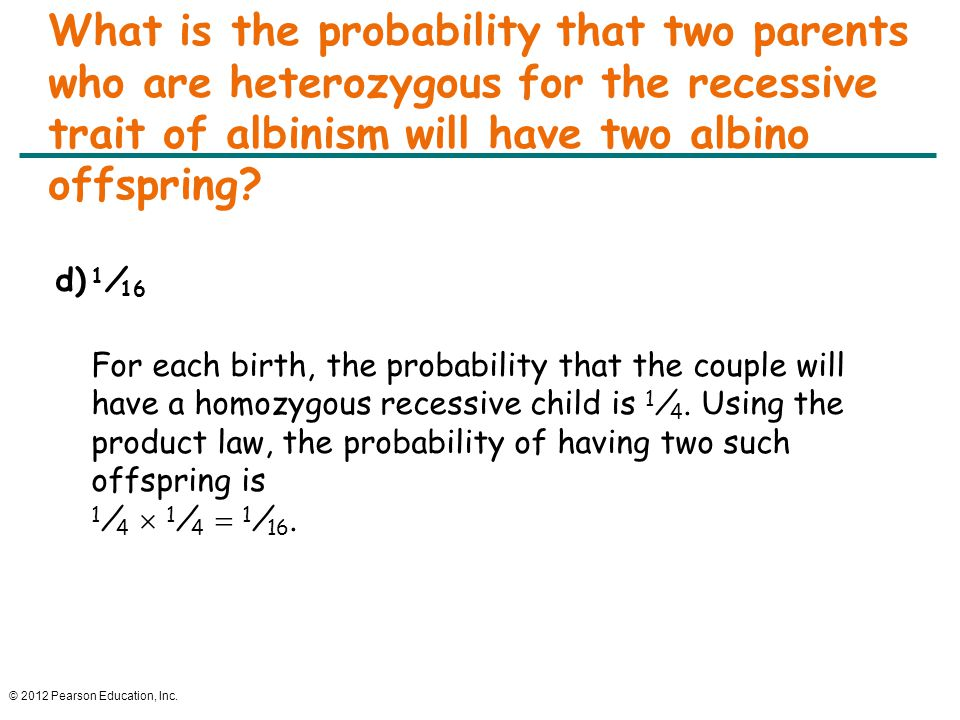 © 2012 Pearson Education, Inc. What is the probability that two parents who are heterozygous for the recessive trait of albinism will have two albino