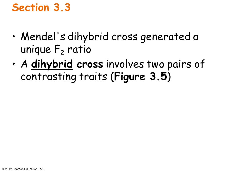 © 2012 Pearson Education, Inc. Section 3.3 Mendel's dihybrid cross generated a unique F 2 ratio A dihybrid cross involves two pairs of contrasting tra