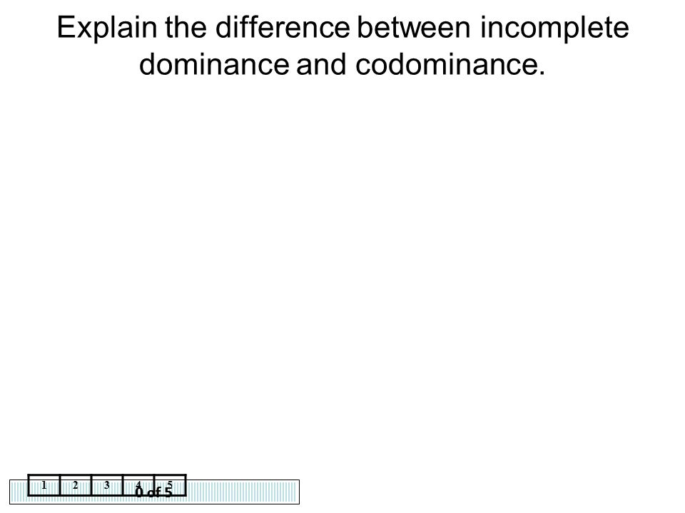 0 of 5 12345 Explain the difference between incomplete dominance and codominance.