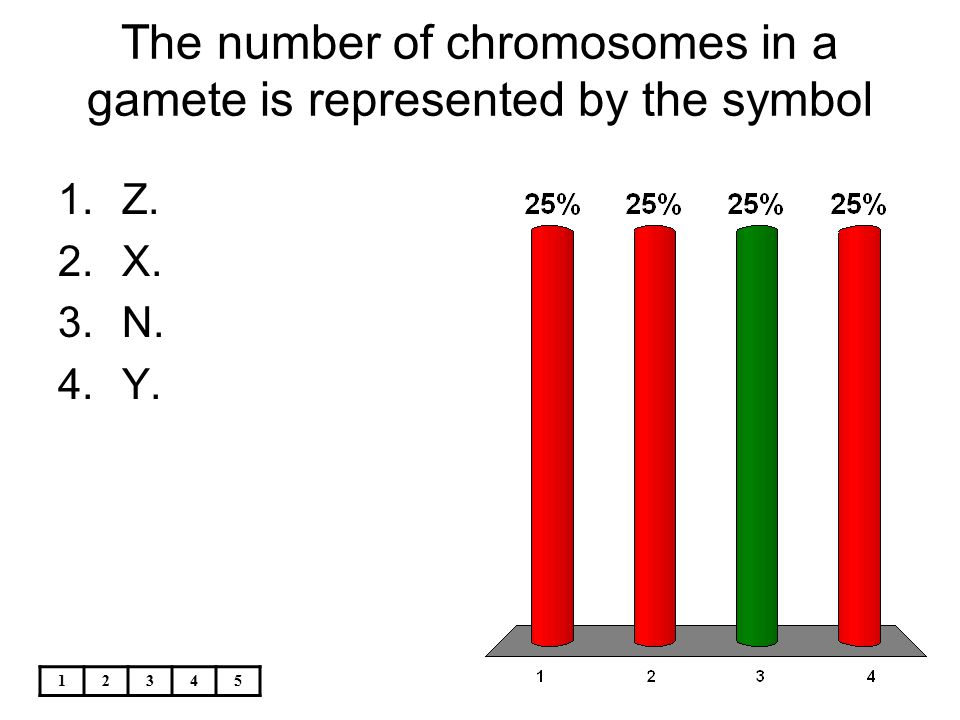 12345 The number of chromosomes in a gamete is represented by the symbol 1.Z. 2.X. 3.N. 4.Y.