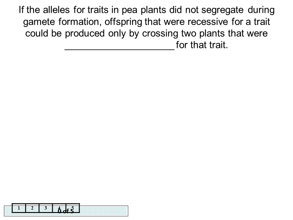 0 of 5 12345 If the alleles for traits in pea plants did not segregate during gamete formation, offspring that were recessive for a trait could be pro
