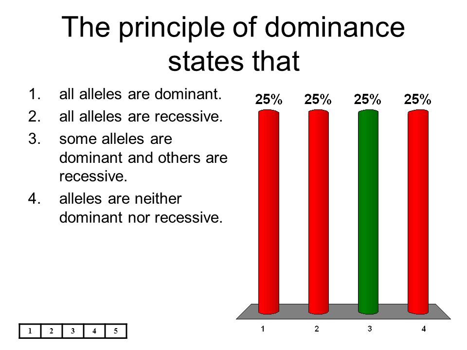 12345 The principle of dominance states that 1.all alleles are dominant. 2.all alleles are recessive. 3.some alleles are dominant and others are reces
