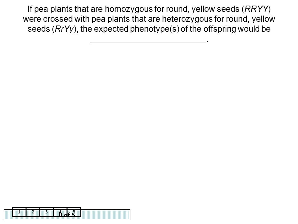 0 of 5 12345 If pea plants that are homozygous for round, yellow seeds (RRYY) were crossed with pea plants that are heterozygous for round, yellow see