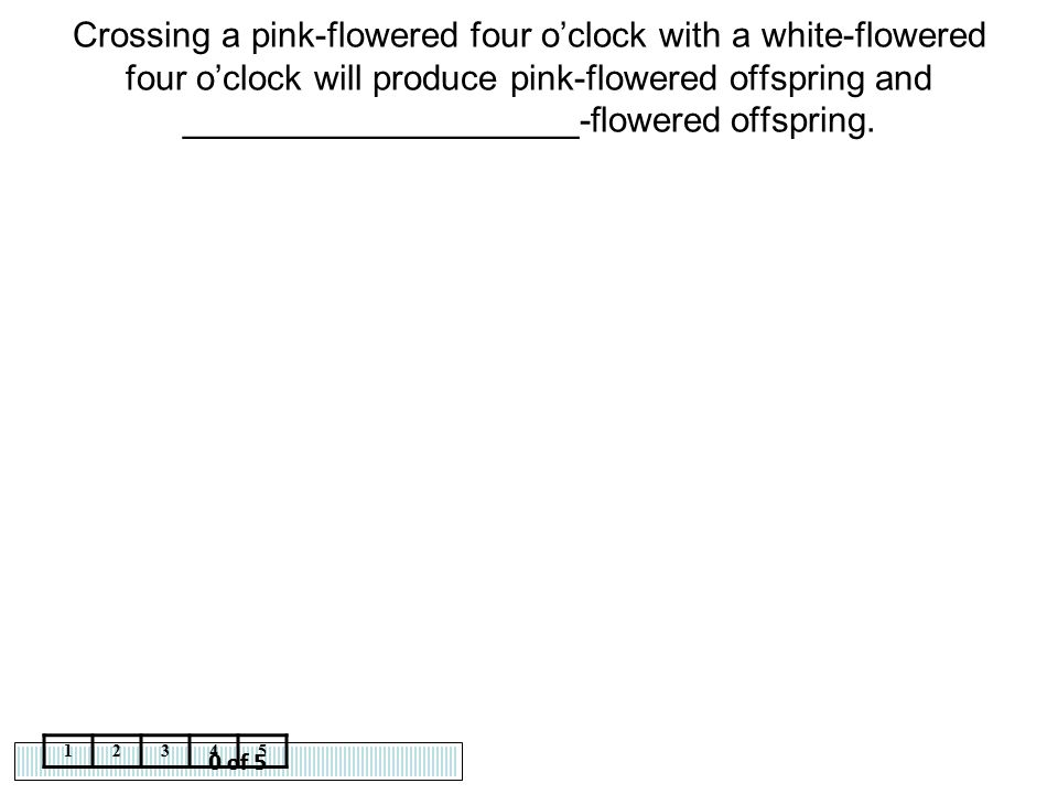 0 of 5 12345 Crossing a pink-flowered four o'clock with a white-flowered four o'clock will produce pink-flowered offspring and ____________________-fl