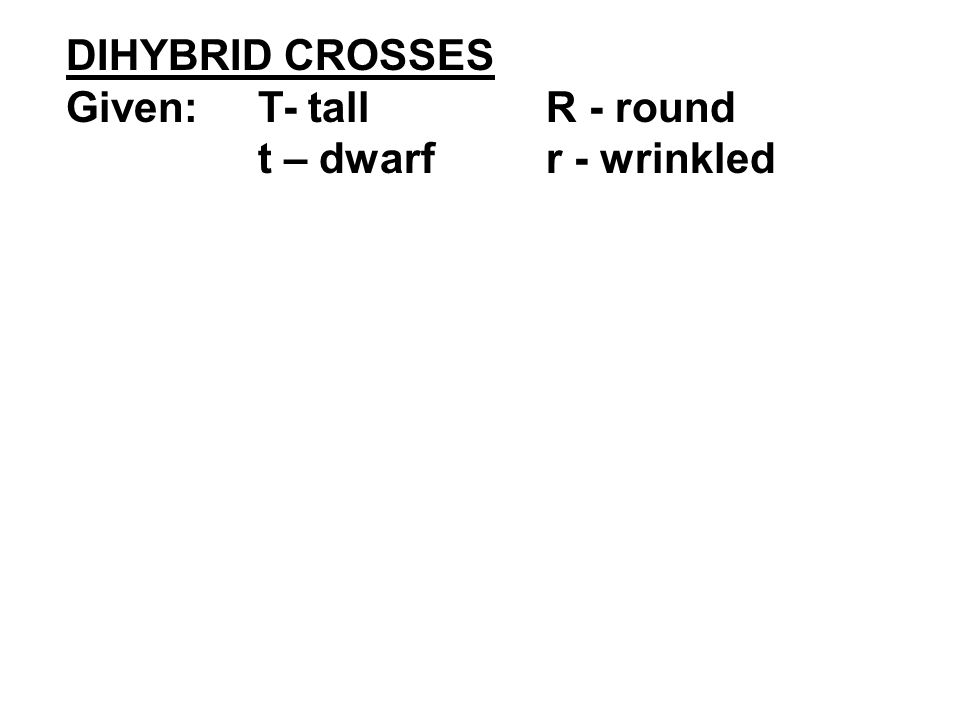 DIHYBRID CROSSES Given:T- tallR - round t – dwarfr - wrinkled