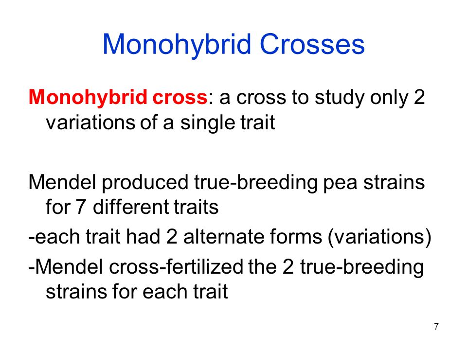 7 Monohybrid Crosses Monohybrid cross: a cross to study only 2 variations of a single trait Mendel produced true-breeding pea strains for 7 different