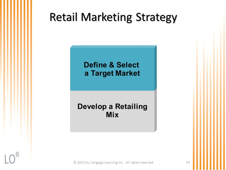 © 2013 by Cengage Learning Inc. All rights reserved 54 Retail Marketing Strategy Develop a Retailing Mix Define & Select a Target Market 6