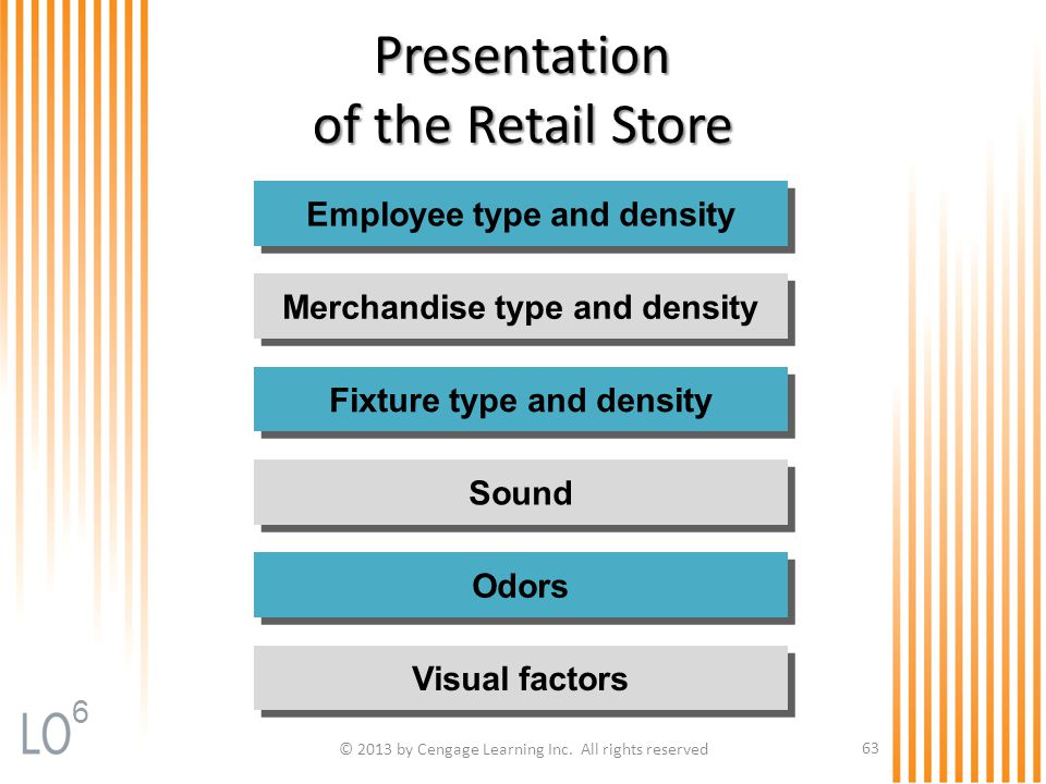 © 2013 by Cengage Learning Inc. All rights reserved 63 Presentation of the Retail Store Employee type and density Fixture type and density Sound Odors