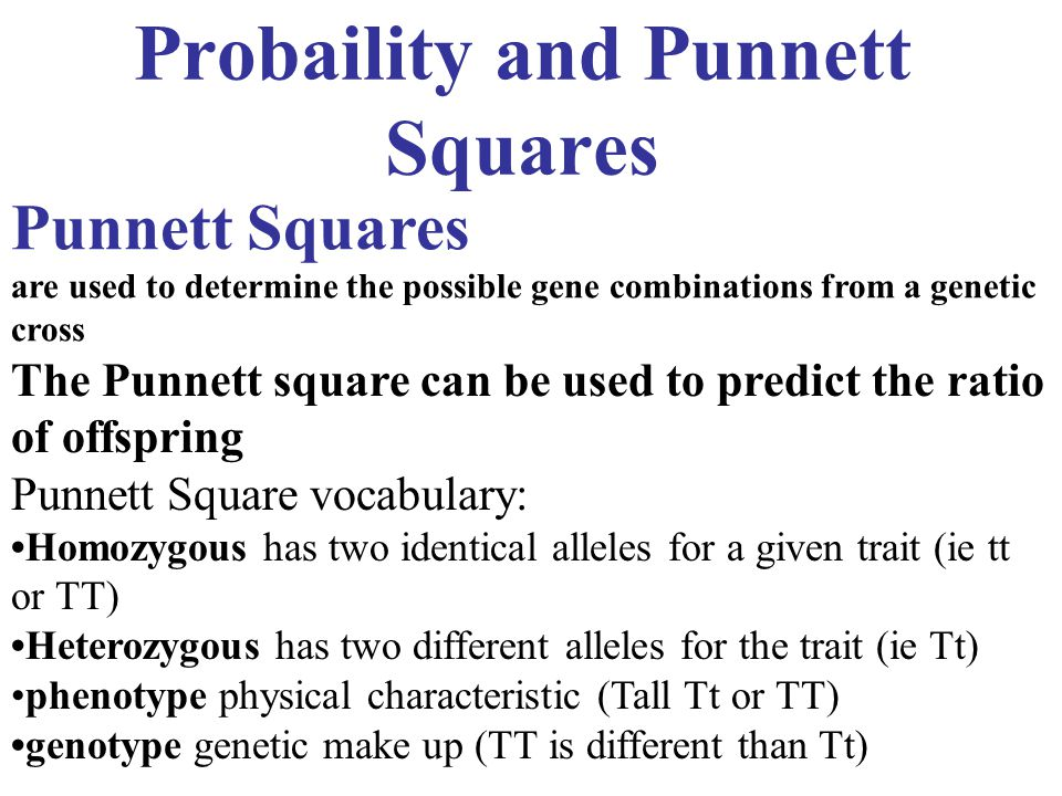 Probaility and Punnett Squares Punnett Squares are used to determine the possible gene combinations from a genetic cross The Punnett square can be use
