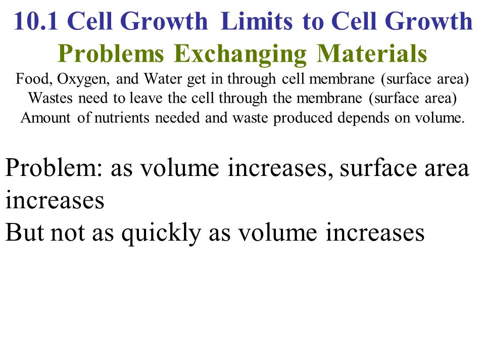 10.1 Cell Growth Limits to Cell Growth Problems Exchanging Materials Food, Oxygen, and Water get in through cell membrane (surface area) Wastes need t