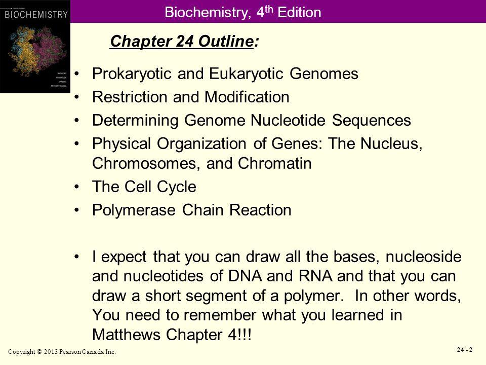 Biochemistry, 4 th Edition Restriction and Modification Copyright © 2013 Pearson Canada Inc.