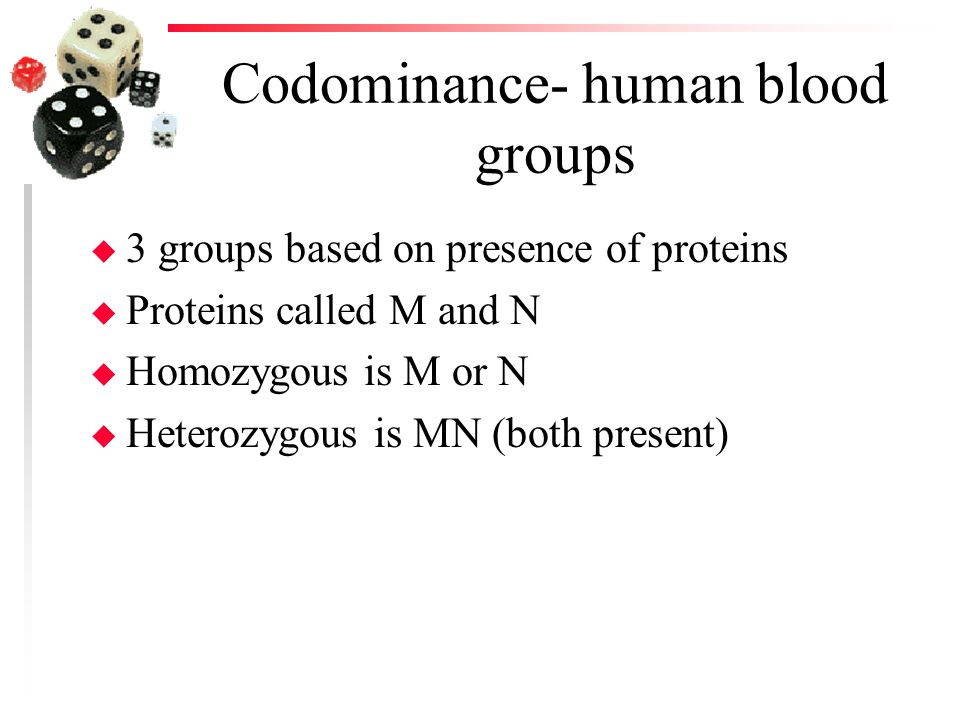 Codominance- human blood groups u 3 groups based on presence of proteins u Proteins called M and N u Homozygous is M or N u Heterozygous is MN (both p