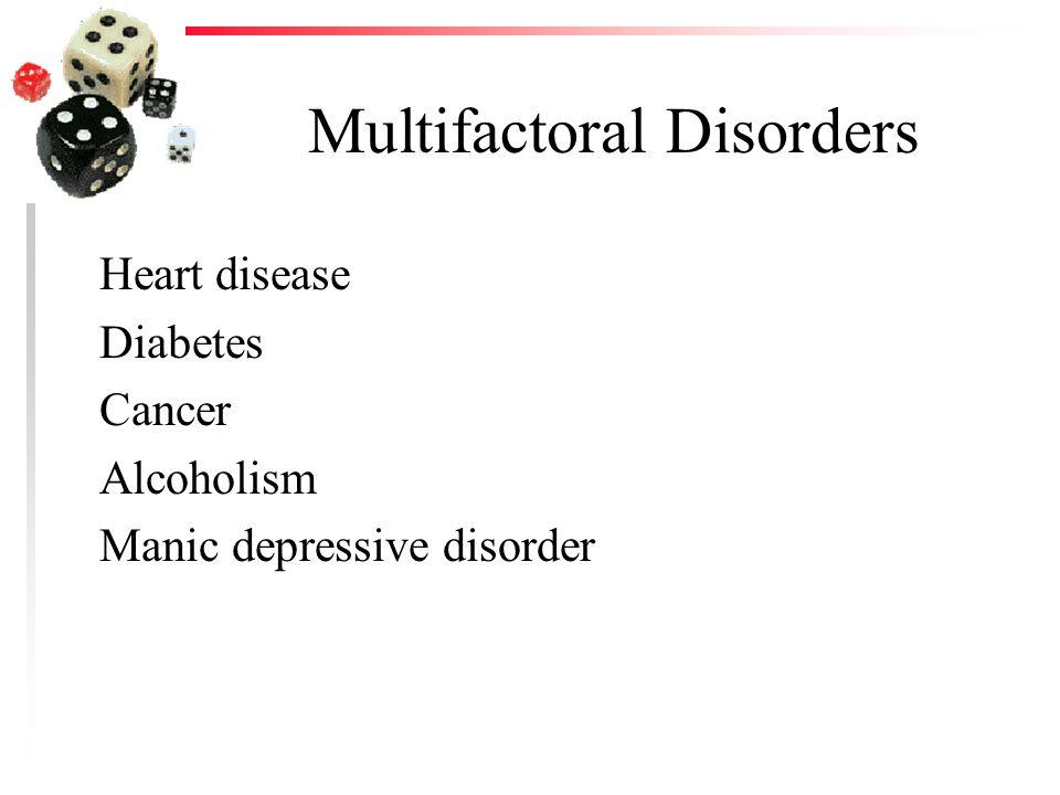 Multifactoral Disorders Heart disease Diabetes Cancer Alcoholism Manic depressive disorder
