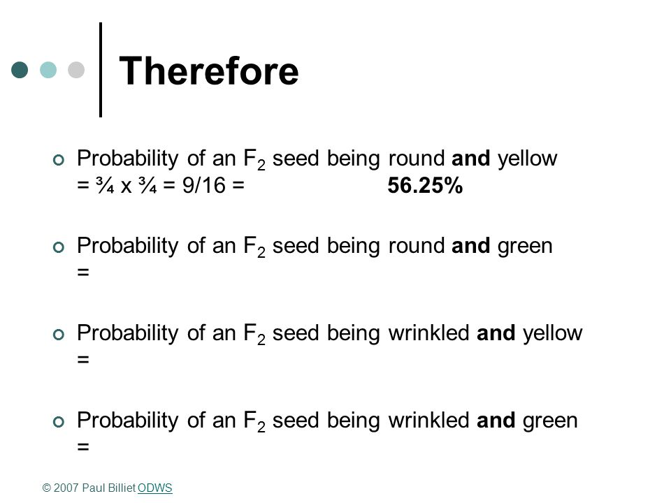 Therefore Probability of an F 2 seed being round and yellow = ¾ x ¾ = 9/16 =56.25% Probability of an F 2 seed being round and green = Probability of a