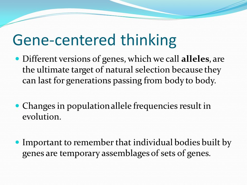 Gene-centered thinking Different versions of genes, which we call alleles, are the ultimate target of natural selection because they can last for generations passing from body to body.