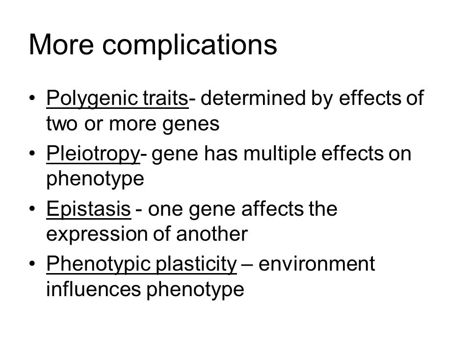 Polygenic traits- determined by effects of two or more genes Pleiotropy- gene has multiple effects on phenotype Epistasis - one gene affects the expression of another Phenotypic plasticity – environment influences phenotype More complications