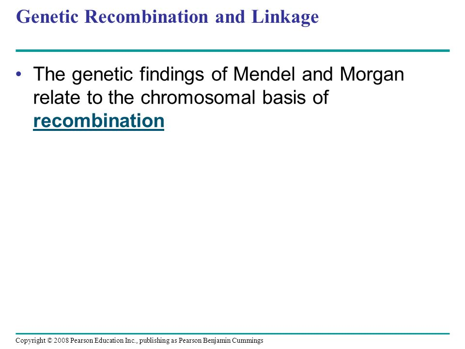 Genetic Recombination and Linkage The genetic findings of Mendel and Morgan relate to the chromosomal basis of recombination Copyright © 2008 Pearson