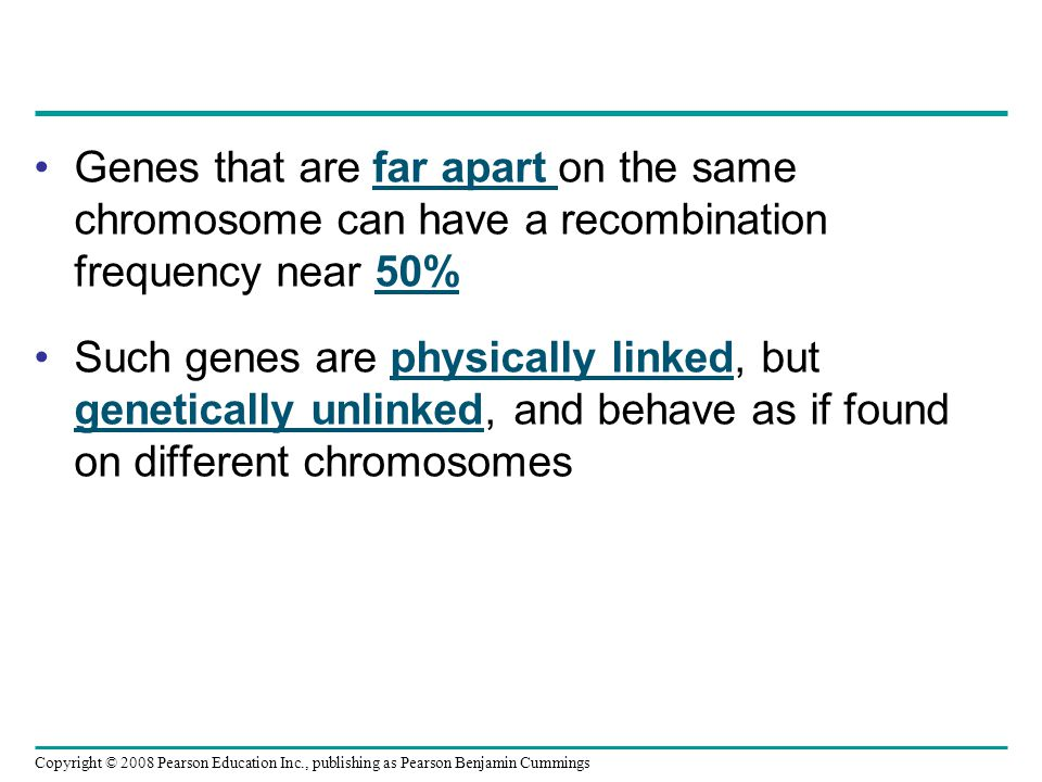 Genes that are far apart on the same chromosome can have a recombination frequency near 50% Such genes are physically linked, but genetically unlinked