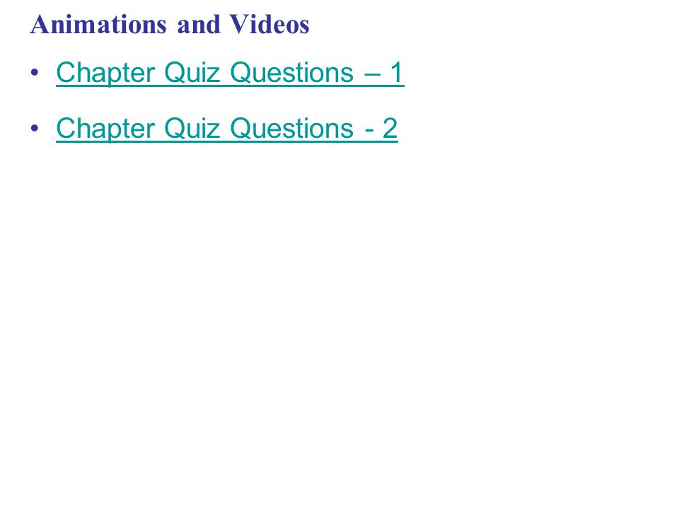Animations and Videos Chapter Quiz Questions – 1 Chapter Quiz Questions - 2