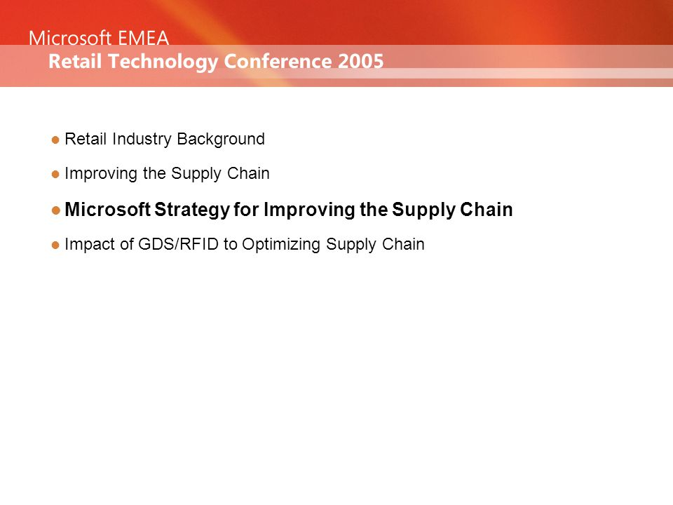 Agenda Retail Industry Background Improving the Supply Chain Microsoft Strategy for Improving the Supply Chain Impact of GDS/RFID to Optimizing Supply Chain