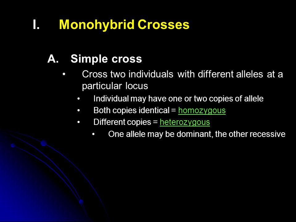 I. I.Monohybrid Crosses A.