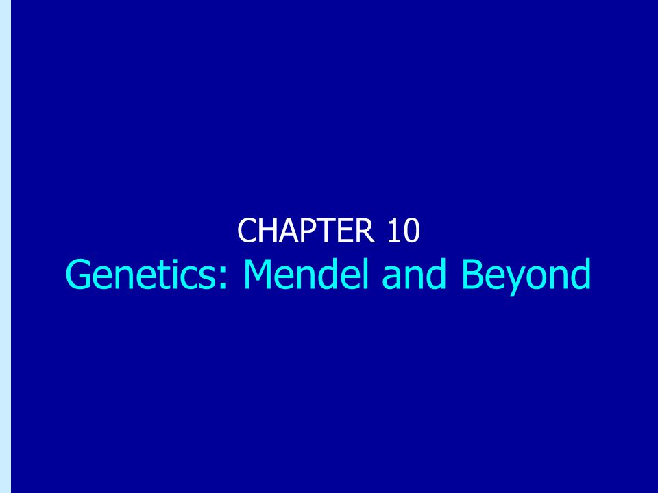 Chapter 10: Genetics: Mendel and Beyond CHAPTER 10 Genetics: Mendel and Beyond