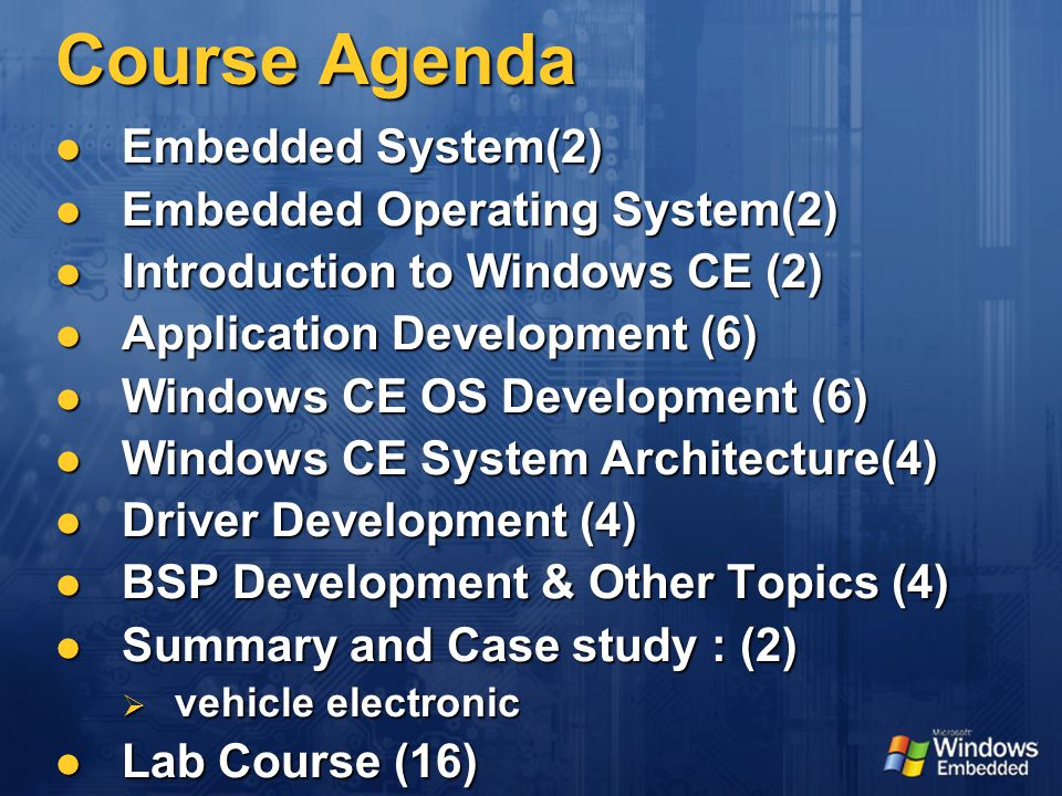 Course Agenda Embedded System(2) Embedded System(2) Embedded Operating System(2) Embedded Operating System(2) Introduction to Windows CE (2) Introduction to Windows CE (2) Application Development (6) Application Development (6) Windows CE OS Development (6) Windows CE OS Development (6) Windows CE System Architecture(4) Windows CE System Architecture(4) Driver Development (4) Driver Development (4) BSP Development & Other Topics (4) BSP Development & Other Topics (4) Summary and Case study : (2) Summary and Case study : (2)  vehicle electronic Lab Course (16) Lab Course (16)