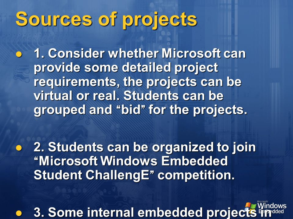 Sources of projects 1.