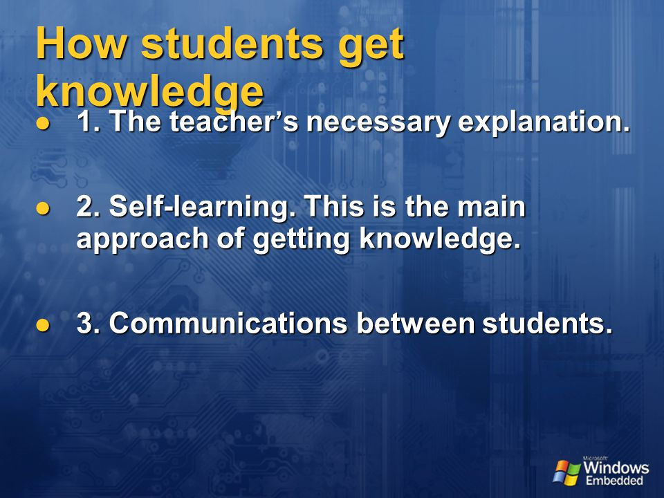 How students get knowledge 1. The teacher ' s necessary explanation.