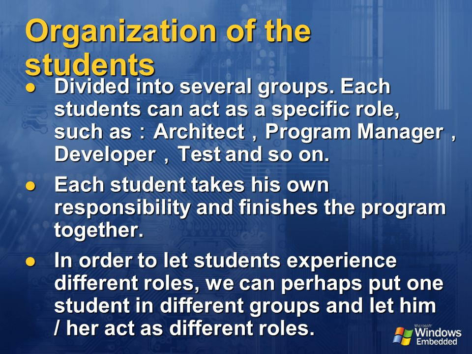 Organization of the students Divided into several groups.