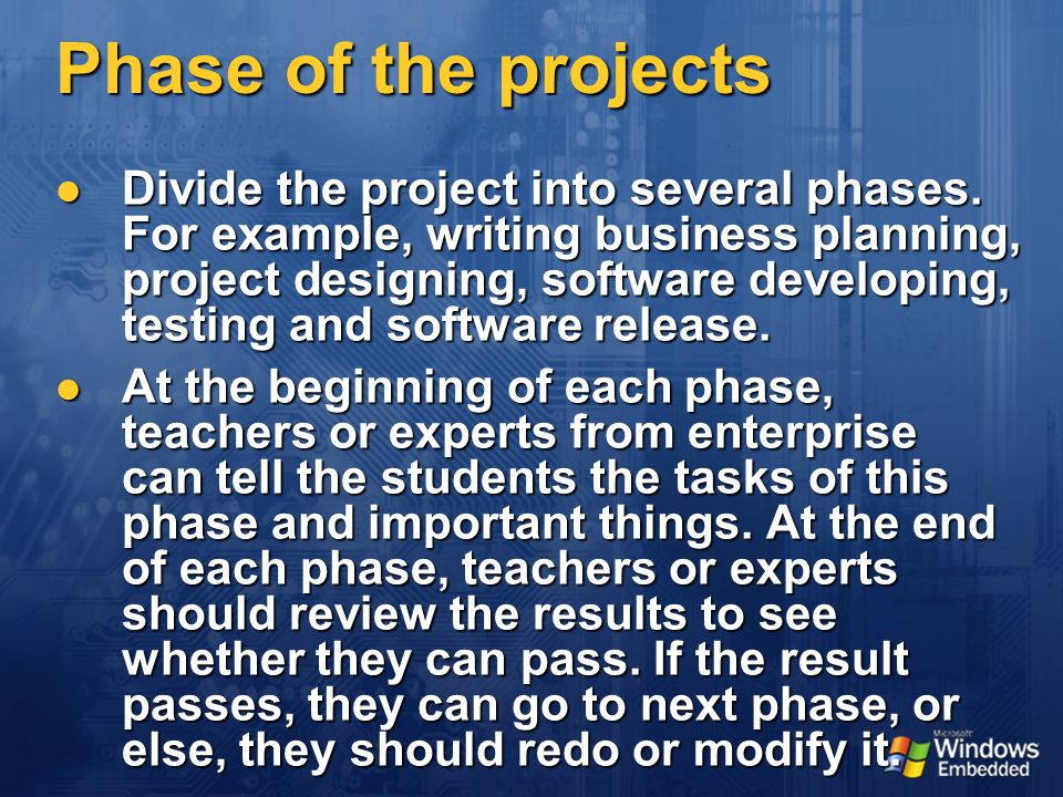 Phase of the projects Divide the project into several phases.