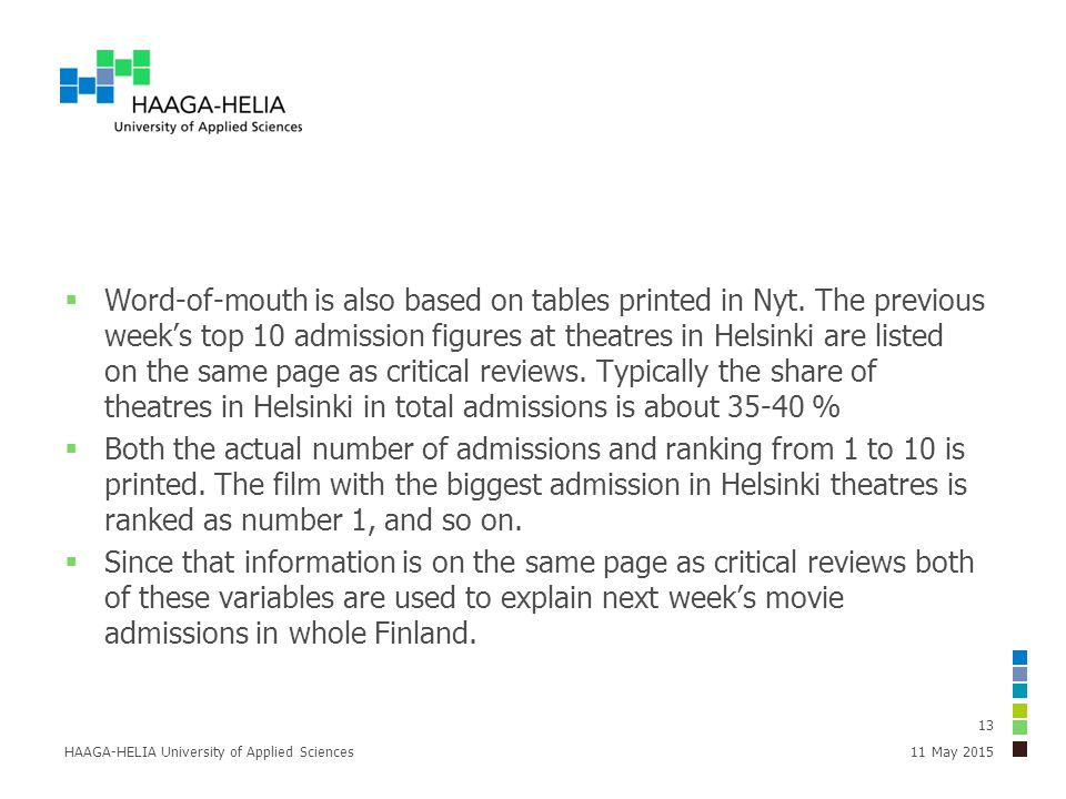  Word-of-mouth is also based on tables printed in Nyt. The previous week's top 10 admission figures at theatres in Helsinki are listed on the same pa