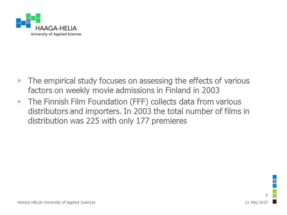  The empirical study focuses on assessing the effects of various factors on weekly movie admissions in Finland in 2003  The Finnish Film Foundation