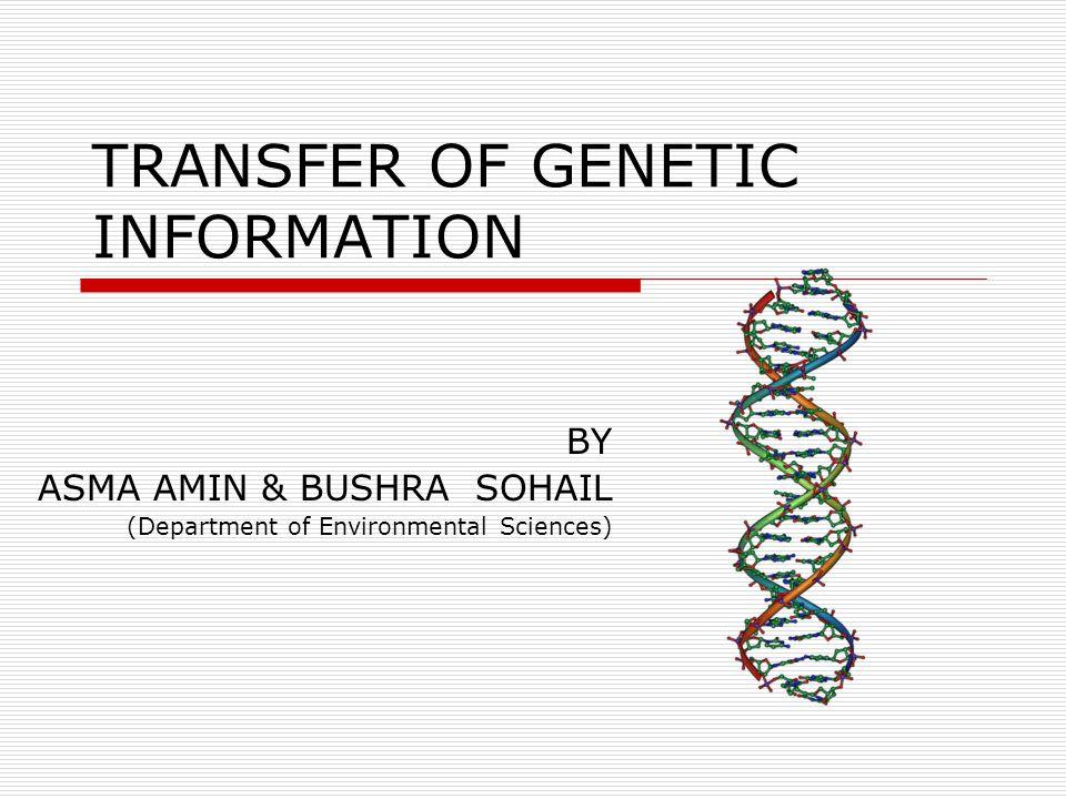 TRANSFER OF GENETIC INFORMATION BY ASMA AMIN & BUSHRA SOHAIL (Department of Environmental Sciences)