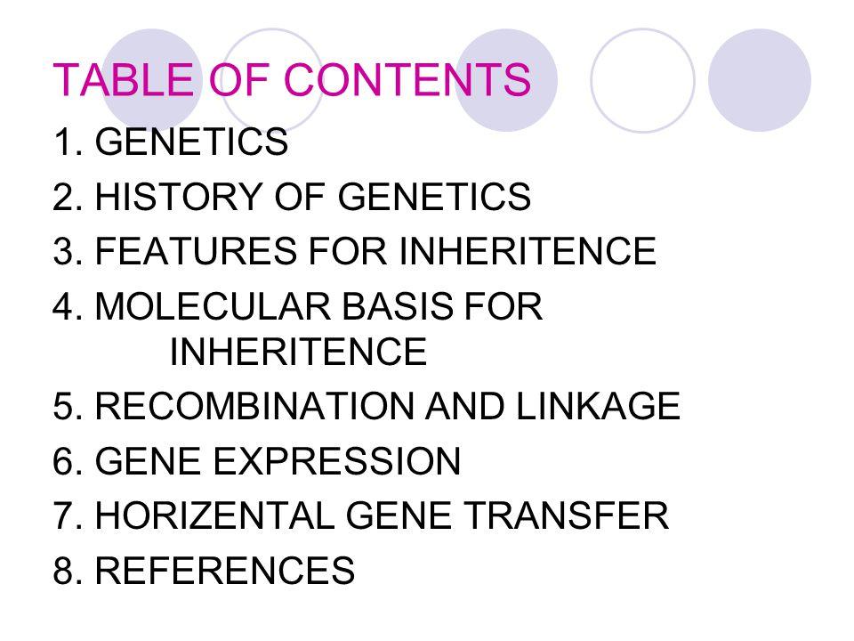 TABLE OF CONTENTS 1. GENETICS 2. HISTORY OF GENETICS 3.