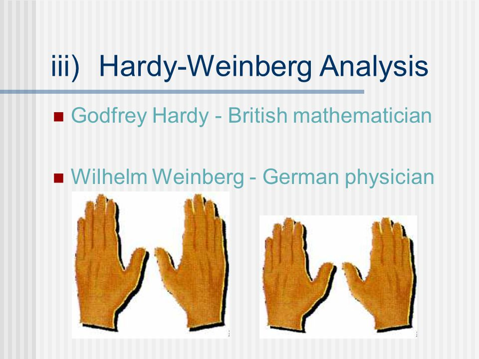 iii)Hardy-Weinberg Analysis Godfrey Hardy - British mathematician Wilhelm Weinberg - German physician