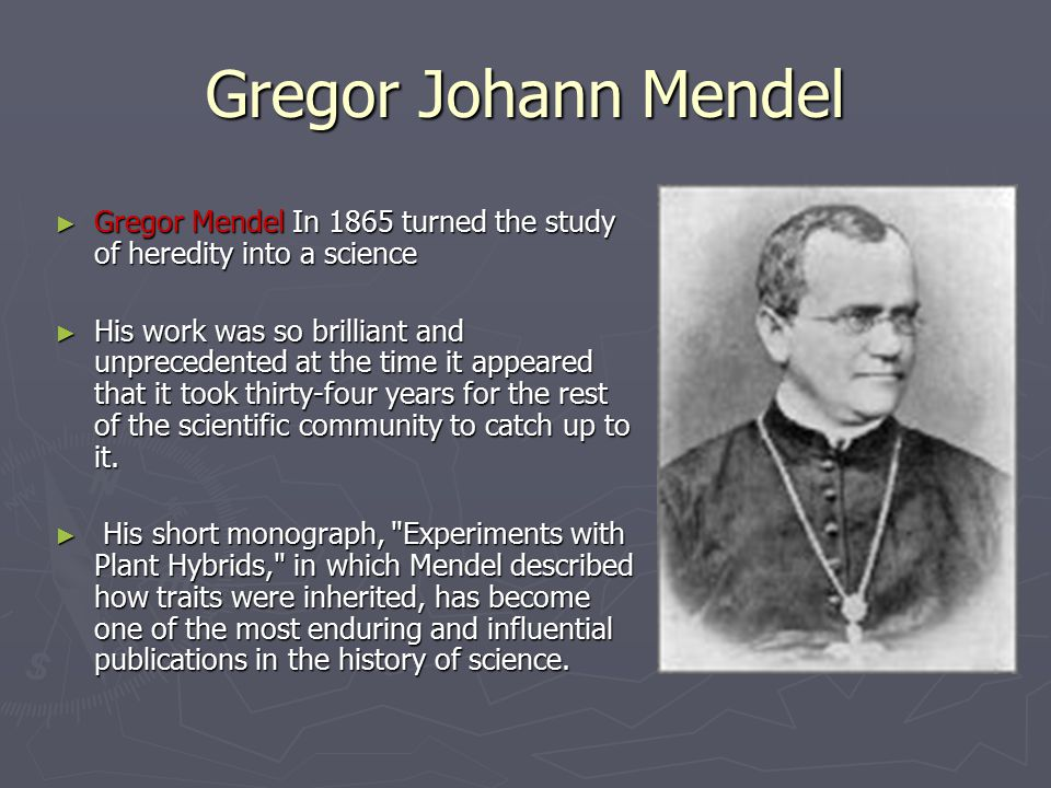 Gregor Johann Mendel ► Gregor Mendel In 1865 turned the study of heredity into a science ► His work was so brilliant and unprecedented at the time it appeared that it took thirty-four years for the rest of the scientific community to catch up to it.
