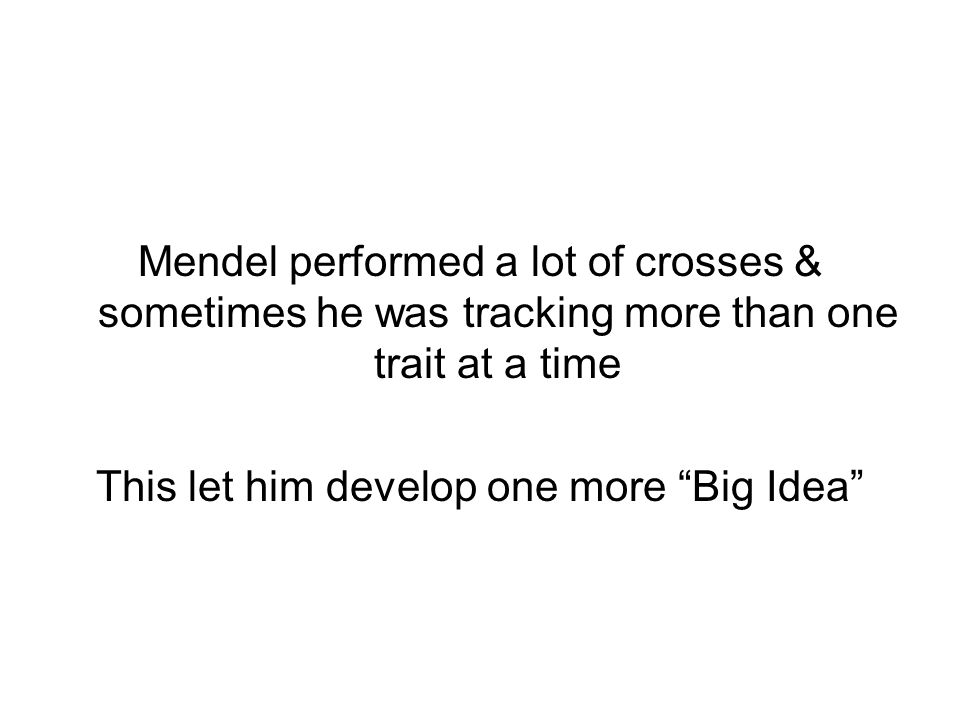 Mendel performed a lot of crosses & sometimes he was tracking more than one trait at a time This let him develop one more Big Idea