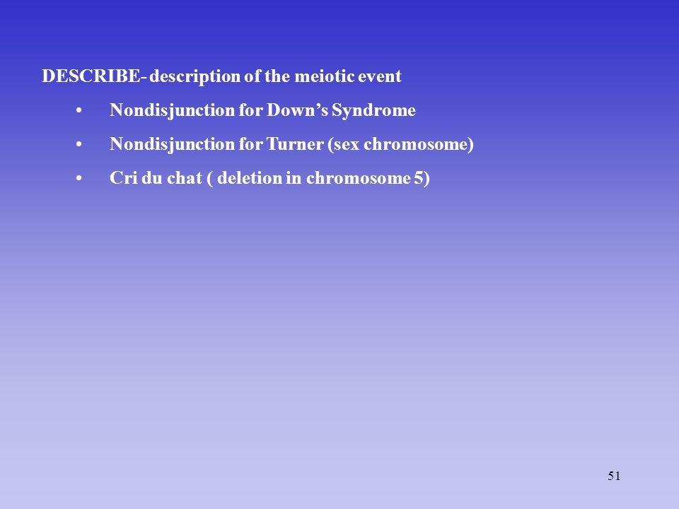 51 DESCRIBE- description of the meiotic event Nondisjunction for Down's Syndrome Nondisjunction for Turner (sex chromosome) Cri du chat ( deletion in chromosome 5)